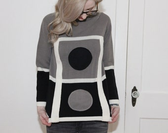 vintage sixties mod sweater black white and grey