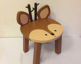 Animal stool   Reindeer Deer hand painted wood kids chair   Children's furniture   Boho Tribal Woodland nursery decor