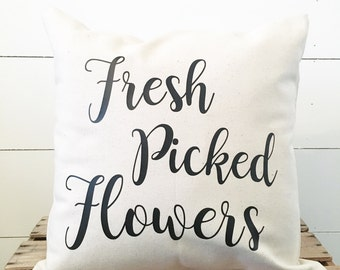 Fresh Picked Flowers Pillow Cover. Farmhouse Pillow Cover. Pillow Case. Throw Pillow. Custom Pillow Cover