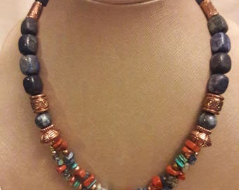 Natural stone necklace with copper accents