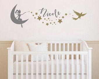 GIRL FAIRY DECAL, Custom Girl Name, Fairy On Moon, Stars Bird, Nursery Bedroom Wall Decor Decal, Lettering, Custom Size Colour, Removable
