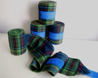 Polo wraps in green blue red plaid fleece horse size set of 4