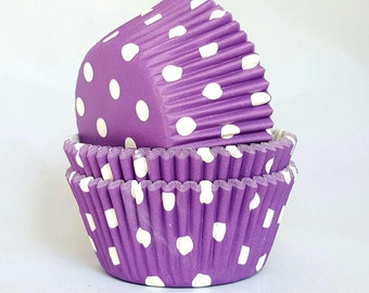 High Quality Purple & White Polkadot Standard Size Cupcake Cases Cupcake Liners