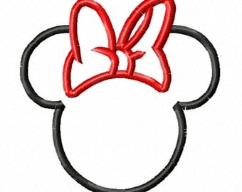 Miss Mouse Head with Bow Applique Design