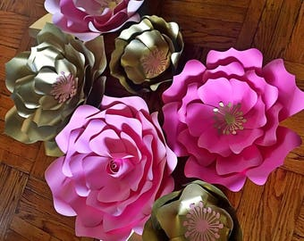 Paper Flowers Set of 6 flowers