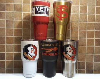 YETI - Authentic - FSU Florida State Seminoles 20 oz 30 oz Tumbler Cup Mug Yeti Fsu football fan gift idea grad alumni custom student garnet