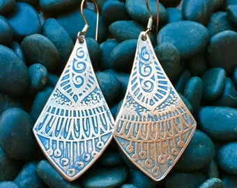Copper Etched Patterned Earrings