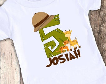 Jungle Safari Inspired custom designed birthday t shirt tshirt personalized