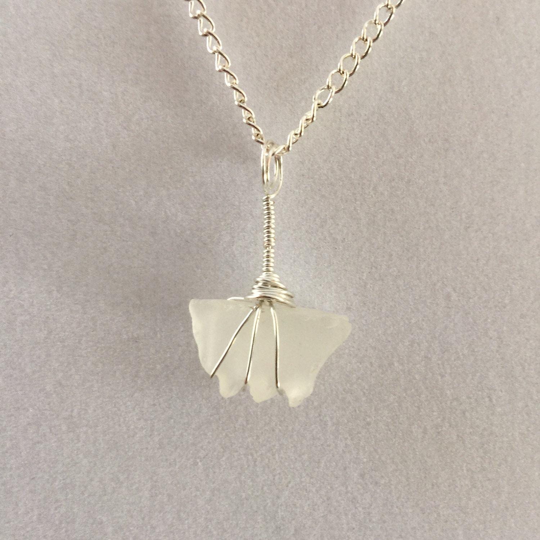 White Cape Cod Sea Glass Necklace Butterly Pendant Silver