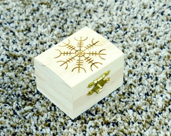 Small Magick Box - engraved top with Bindrune stone