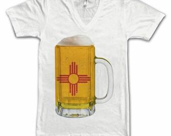 Ladies New Mexico State Flag Beer Mug Tee, Home Tee, State Pride, State Flag, Beer Tee, Beer T-Shirt, Beer Thinkers, Beer Lovers Tee