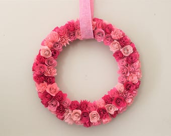 Paper Floral Wreath, Paper Wreath, Floral Wreath, Valentine's Wreath, Spring Decor, Paper Flowers, Bedroom Wreath,  Pink Wreath, Girls Room