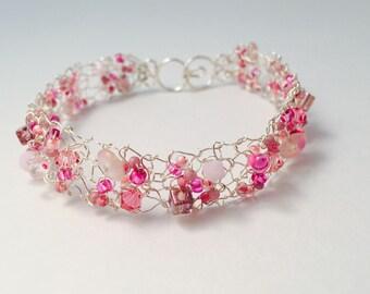 Fine silver knitted bracelet with Rose Swarovski Crystals