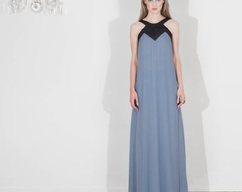 Silk double muslin long dress