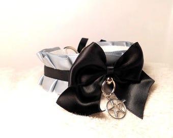 BDSM grey black pentagram charm collar ddlg babygirl kittenplay petplay cute Halsband