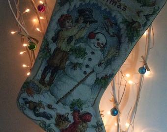 """Hand Stitched Christmas Stocking """"Nostalgic Christmas"""""""