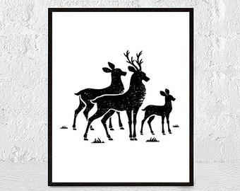 Wall Art Print Deer Print Deer Antlers Stag Print Animal Print Black and White Print Deer Antler Deer Print Woodlands Decor