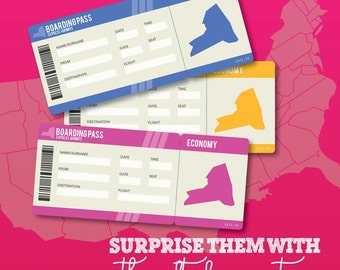 Printable Set of PDF Surprise Ticket for a New York Vacation