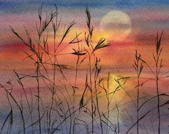 Original Mixed media Painting.   Watercolor, Ink  Painting  –Summer time 1
