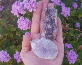 Raw Brazilian Amethyst crystal cluster pair