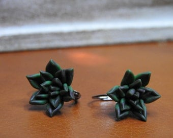 Green Polymer Clay Earrings – Succulents – Polymer Clay Jewelry