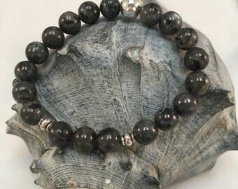 Genuine 8 mm Labradorite w/Silver Accents Stretch Gemstone Bracelet