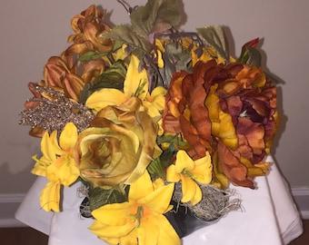 Record Bowl Flower Arrangement