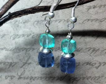 Fluorite gemstone earrings