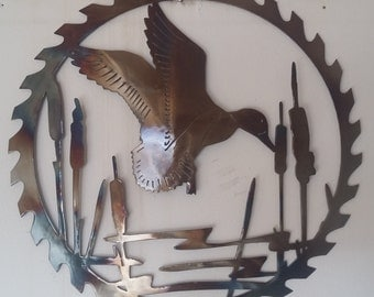 "Duck Sawblade, Metal Art - HEAT COLORED, 20"" (51 cm)"