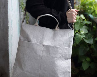 Women Tote, Washable paper shoulder bag,laptop bag, everyday classic tote, vegan leather, eco-friendly, paper, sustainable, Sale 30%!