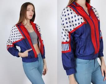 Vintage USA Olympics Jacket // 90s Windbreaker Track Zip Up American Flag - Extra Small xs
