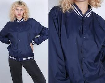 Vintage Varsity Jacket // 70s Nylon Windbreaker Coat Sportswear Navy Blue Letterman Jacket Mens Womens - Medium to Large