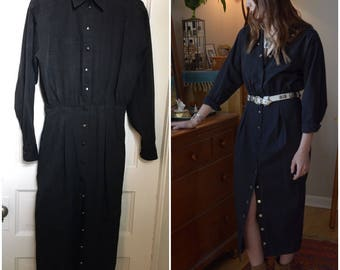 1980s Western Snap Dress, Black Long Sleeve, Express Wiggle Dress Small