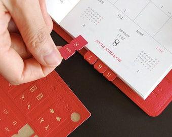 Leather Index Sticker - Planner Sticker - Index Tabs - Marker - Month Tabs - Shine Index Sticker
