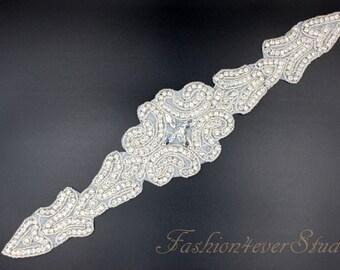 Crystal Clear Rhinestone Applique, Bridal Sash Applique, Wedding Belt Applique, Crystal Beaded Applique, Bridal Accessories