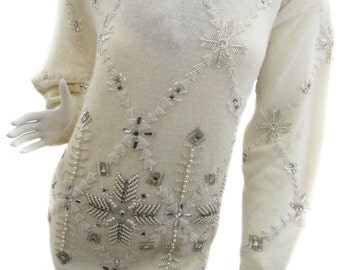1990s White Lambswool and Angora Sweater with Rhinestone and Beaded Snowflake Design by Marisa Christina (10013CL)
