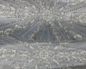 Beautiful Silver Embroidered & Heavily Beaded Lace Fabric Sold By The Yard