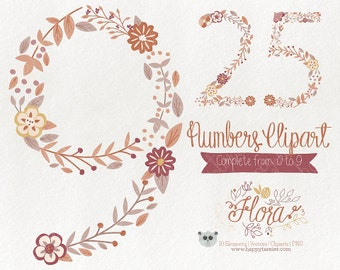 Flowers Clipart 70% OFF! - Numbers Clipart Vector Graphics  Clip Art PNG Flowers Floral 03 Earth Tones Brown Tan