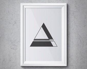 Sacred Geometry Print, Modern Abstract Triangle Design, Geometry Tri-01