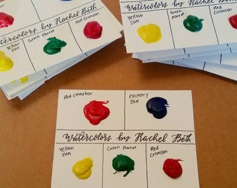 Handmade Primary Watercolor Paint Sample Dot Card - FREE SHIPPING