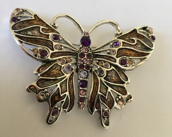 Beautiful Large Vintage Monet signed Butterfly Brooch Rhinestones Multi Color