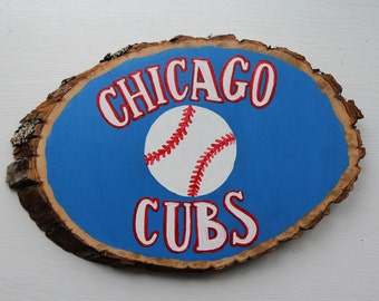 Chicago Cubs Hand Painted Wood Slice