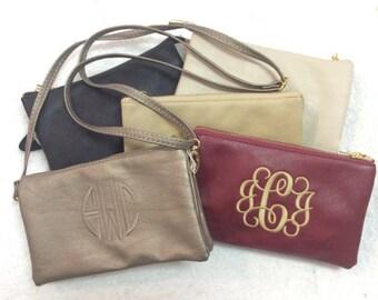 Monogrammed Three-Way Handbag -- Beautiful and Versatile!  Use As A Clutch, A Wristlet, or a Crossbody Bag!