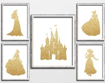 Disney inspired princess and castle printable gold sparkle nursery decor, girl playroom gold glitter wall art decor kids room download