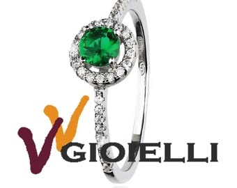 Silver 925 ring with zircon Center Green 4-jaw setting riviere of cubic zirconia