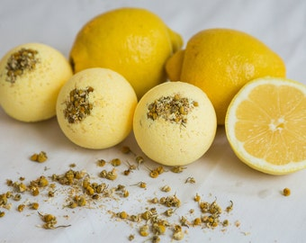 Bath Bomb // Headache Healer Blend // Lemon // Chamomile flowers // Yellow // Aromatherapy and essential oils