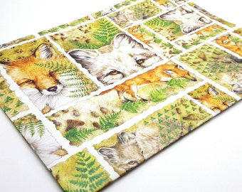 One sheet of Vintage Wolf and Fox Wrapping Paper Birthday Gift Wrap Craft Supplies Scrapbook Supplies Canadian Wildlife Federation from 1996