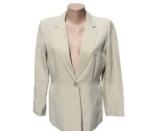 Vintage GERARD DAREL beige women blazer linen and silk