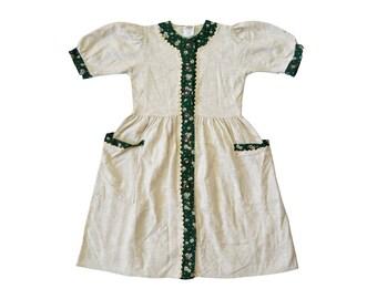 Vintage Burki Moden girl dress kids made in Austria floral flowers green beige