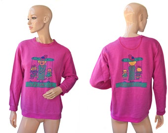 Vintage Caranasov women sport blouse sweater Made in Germany pink print